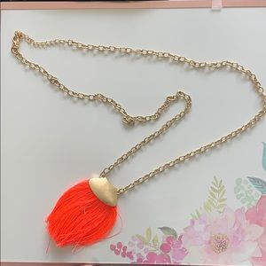 Jewelry - Moon and Lola orange tassel statement necklace